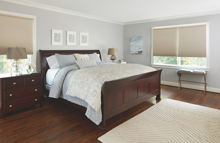Pull-down shades in a Kingsport bedroom.