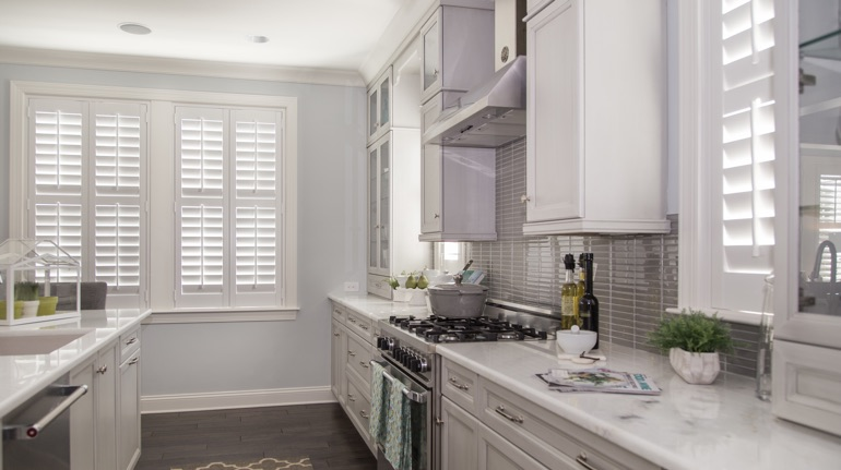 Polywood shutters in Kingsport kitchen with marble counter.