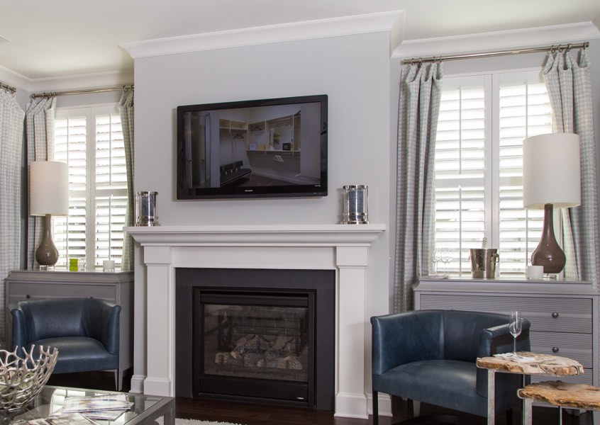 family room Kingsport faux wood shutters