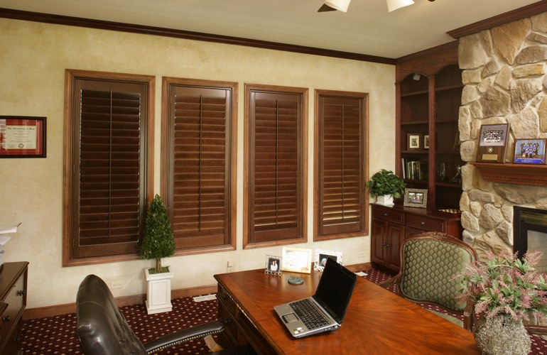 Hardwood plantation shutters in a Kingsport home office