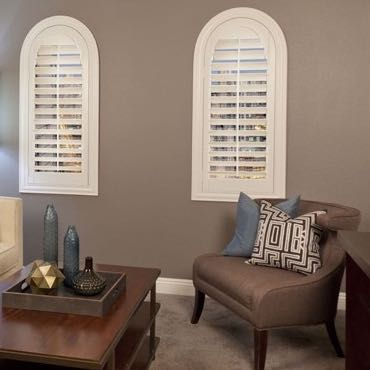 Kingsport family room interior shutters.