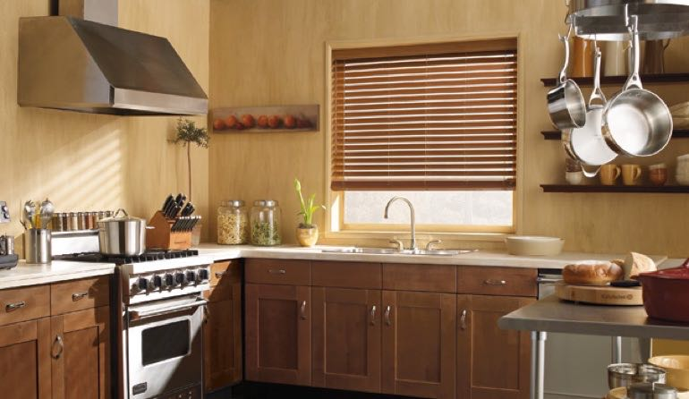 TN faux wood blinds kitchen