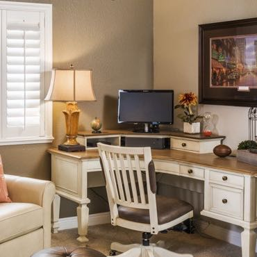 Kingsport home office plantation shutters.