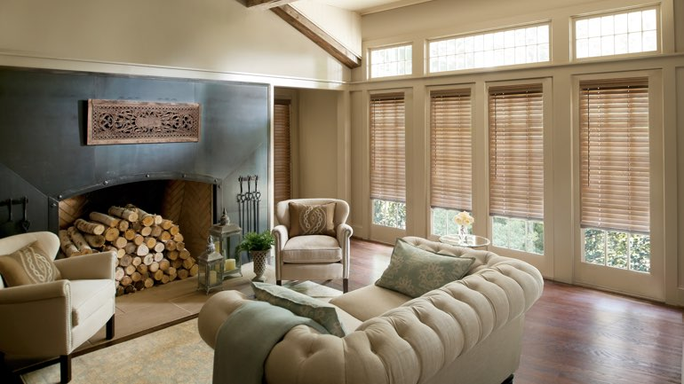 Kingsport fireplace with blinds