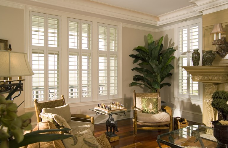 Living Room in Kingsport with white plantation shutters.