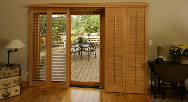 Kingsport wood shutter sliding door