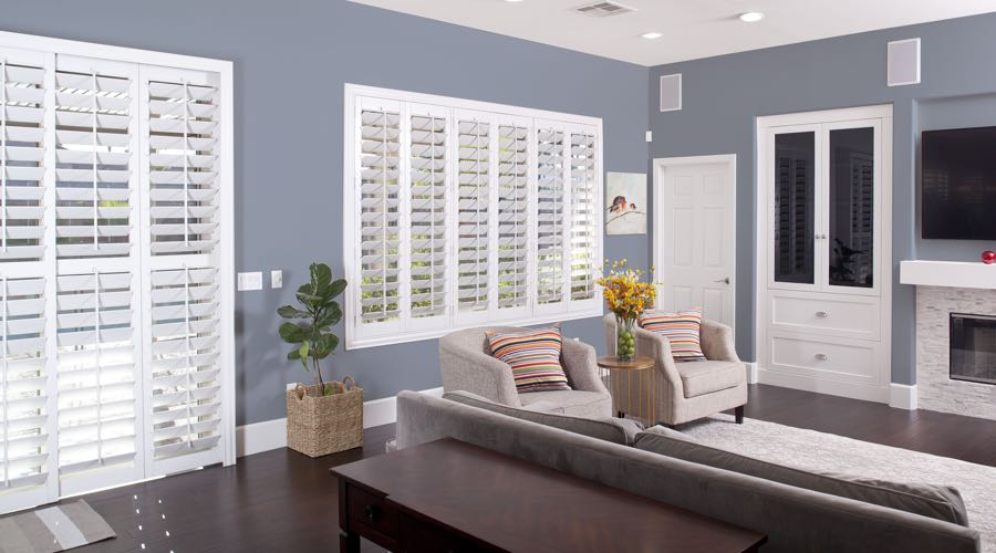 Faux Wood Shutters In blue Kingsport Living Room