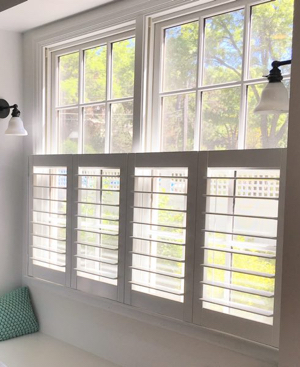 Kingsport faux wood cafe shutters