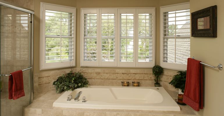 Plantation shutters in Kingsport bathroom.