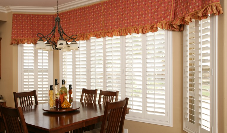 White shutters in Kingsport dining room.
