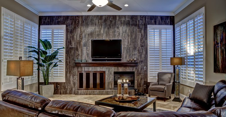 Kingsport living room with shutters