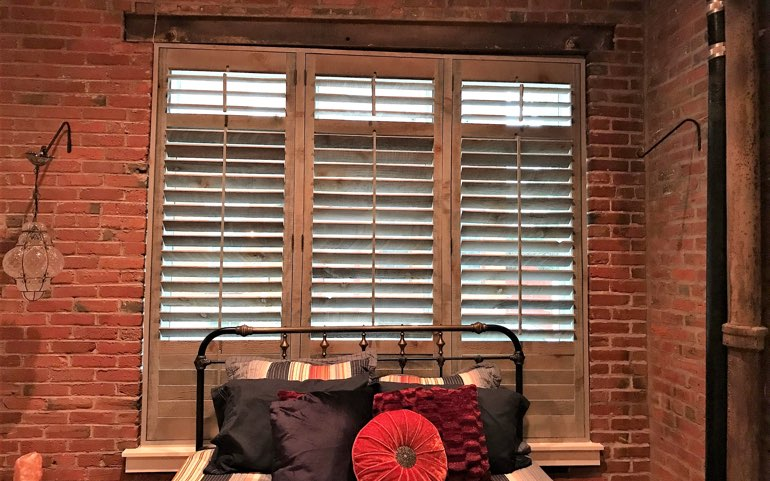 reclaimed wood shutters in Kingsport bedroom