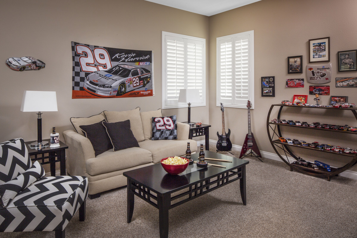 Kingsport man cave with shutters