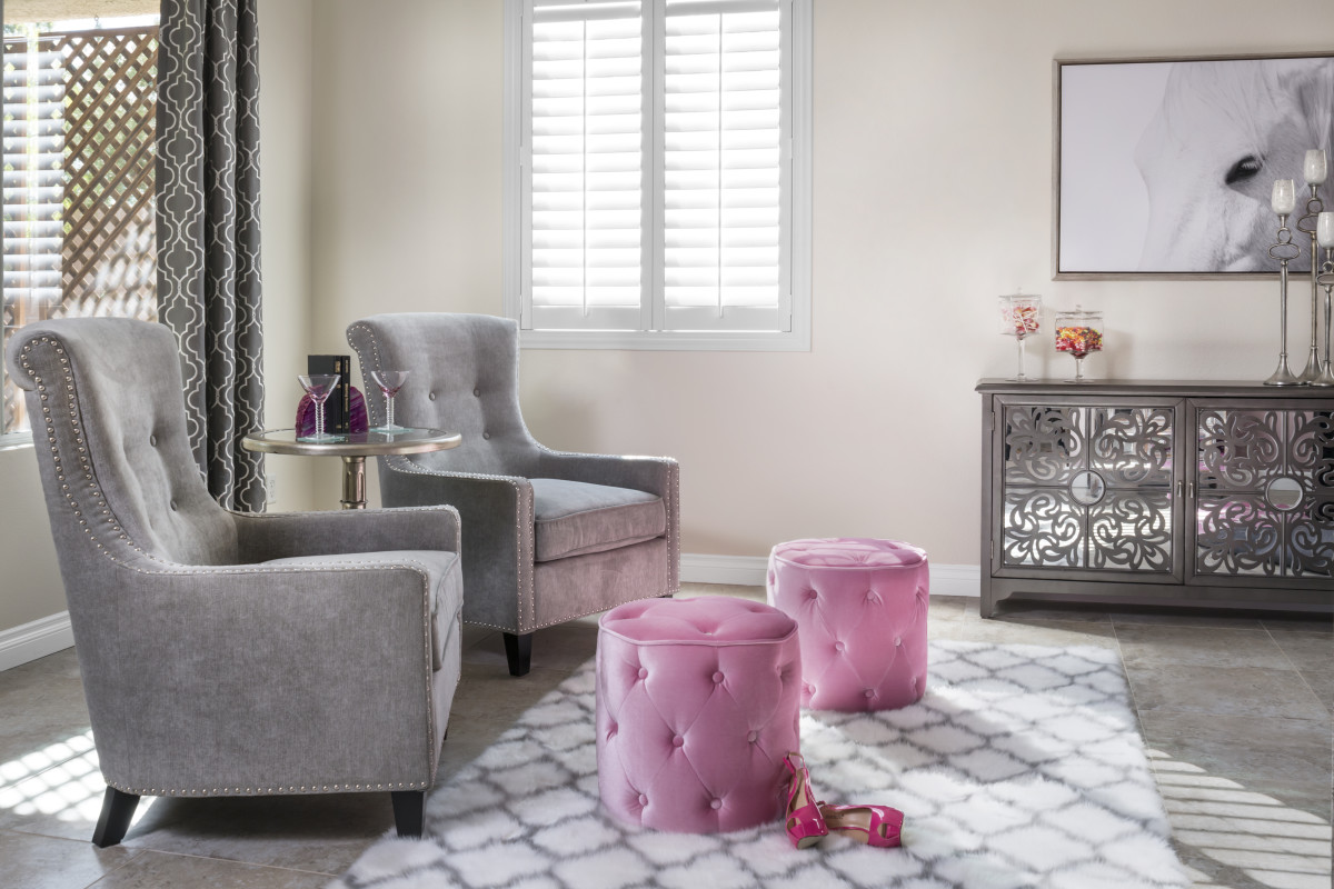 Kingsport pink living room with shutters
