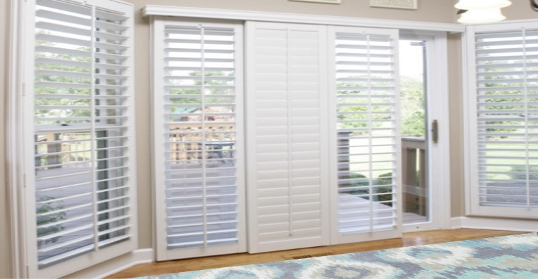 [Polywood|Plantation|Interior ]211] shutters on a sliding glass door in Kingsport