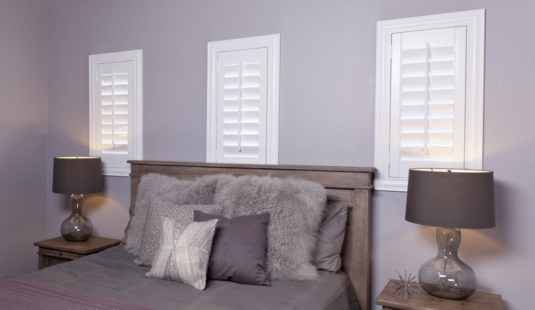Classic plantation shutters in Kingsport bedroom windows.