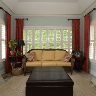 Kingsport sunroom interior shutters.