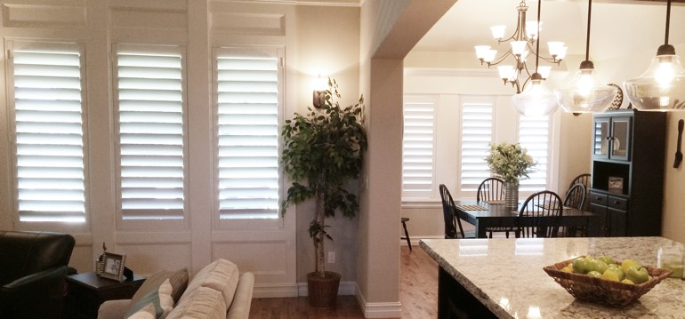 Kingsport shutters in kitchen and family room