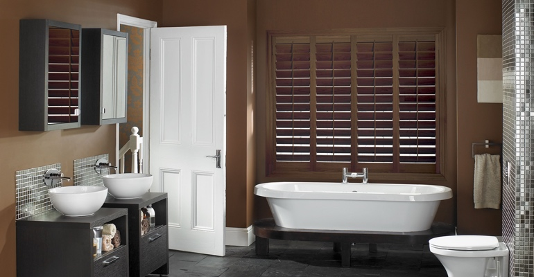 Kingsport bathroom shutters wood stain