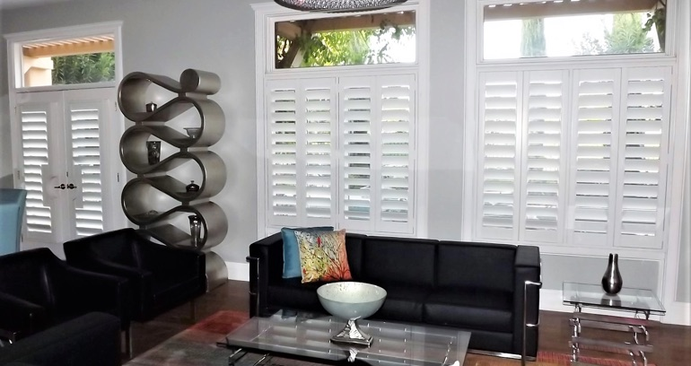 Kingsport DIY shutters in living room.