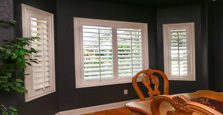 Beautiful Polywood Shutters In Dark Green Dining Room