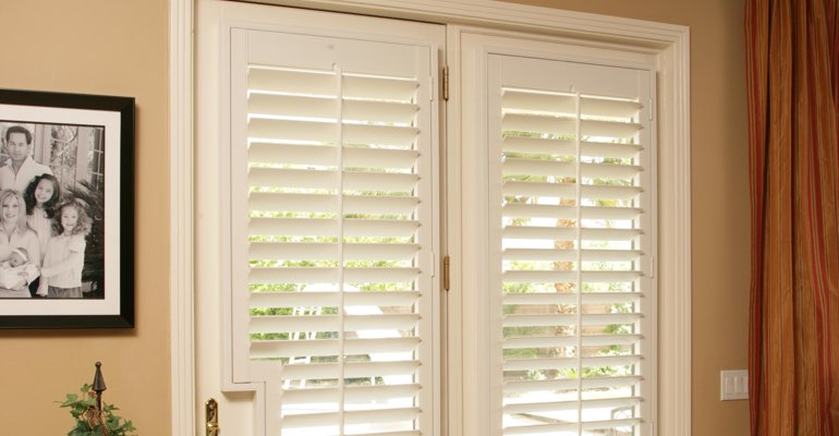 Kingsport french door plantation shutters