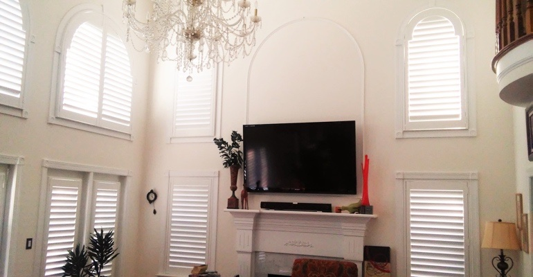 high ceiling windows with shutters Kingsport great room
