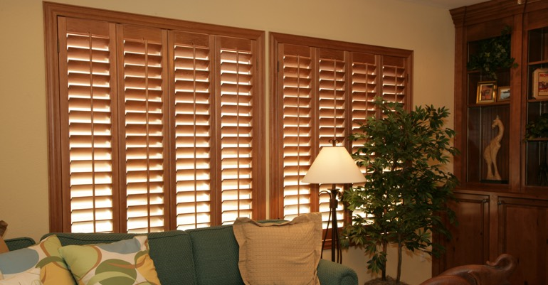 Wood shutters in Kingsport living room.