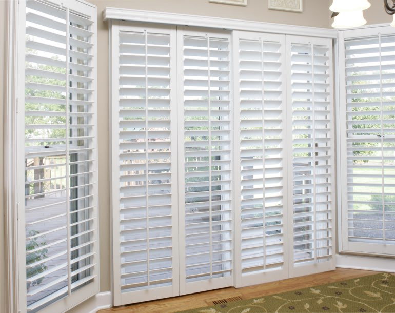 Sliding glass door with plantation shutters Kingsport